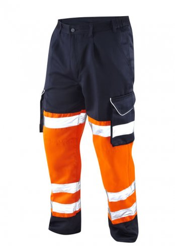 'LEO' Bideford Hi Vis 2 Colour Poly/Cotton Cargo Trousers x2