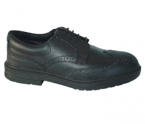 Toesavers Black Leather Brogue Safety Shoe