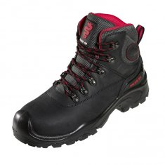 Black Waxy Leather Hiker Boot with Scuff Cap