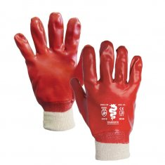 Red PVC Knit Wrist Gloves x12