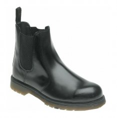 Black Leather Safety Dealer Boot - AC03