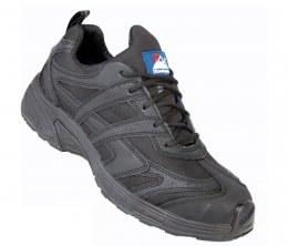 Himalayan  Black Leather Safety Trainer