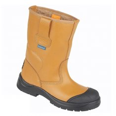 Himalayan Tan Leather Safety Rigger Boots with Scuff Cap
