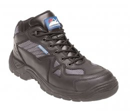 'Himalayan' Black/Silver Leather/Nylon Safety Cross Trainer Shoes