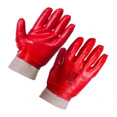 'Supertouch' Red PVC Knit Wrist Gloves - £0.72 each