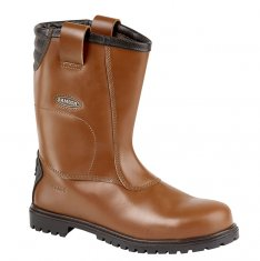 'Samson' Waxy Brown Rigger Boot with Kickplate