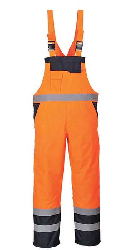 'Portwest' Hi Vis Lined Bib and Brace